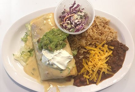 chimichaga with refried beans and spanish rice